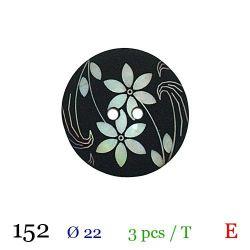 Tube 3 boutons noir à fleur blanche Ø 22mm