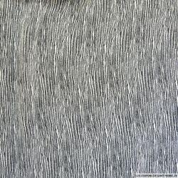 Tissu gaufré imprimé fleurs fond gris