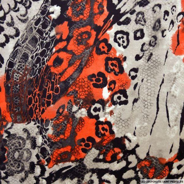 Maille milano imprimé polyester sauvage rouge et gris