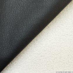 Simili cuir noir double face fourrure mouton écru