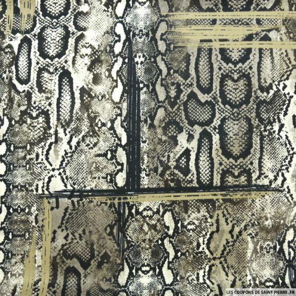 Satin polyester imprimé serpent destructuré beige