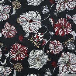 Satin polyester imprimé pompon fond noir