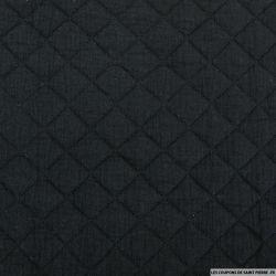 Double gaze de coton matelassé noir au mètre