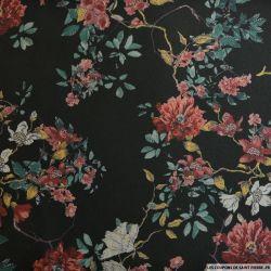 Jean's jacquard floral fond noir