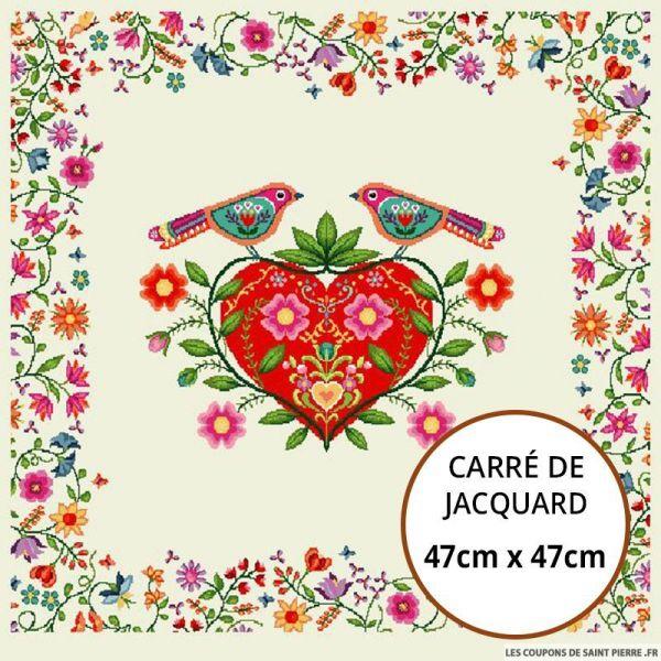 Jacquard coeur printanier - 47cm x 47cm