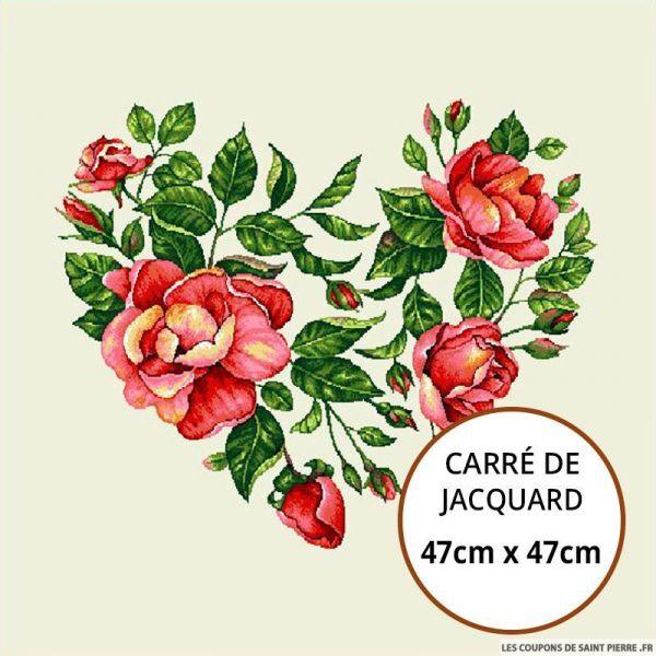 Jacquard coeur fleuri - 47cm x 47cm