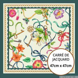 Jacquard rubans fleuris - 47cm x 47cm