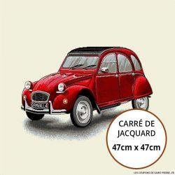 Jacquard auto vintage rouge - 47cm x 47cm
