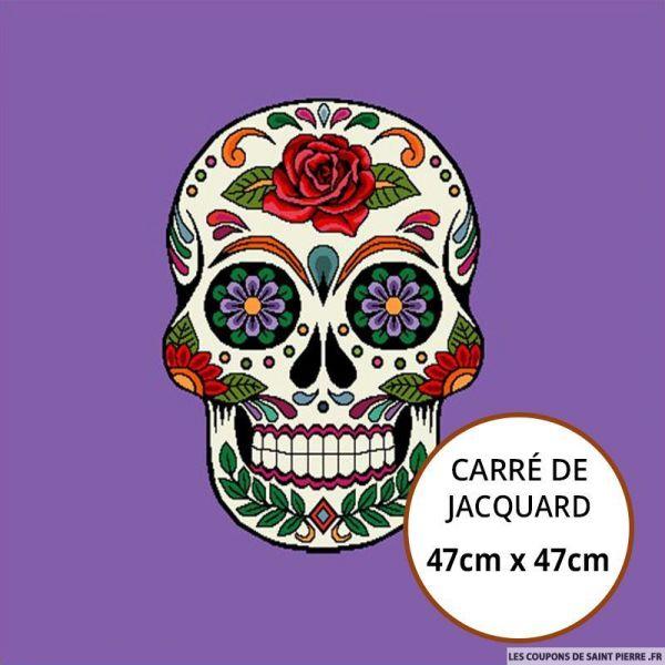 Jacquard tête de mort fond violet - 47cm x 47cm