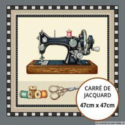 Jacquard machine à coudre et bobines - 47cm x 47cm