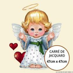 Jacquard petit ange coeur - 47cm x 47cm