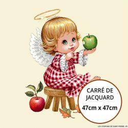 Jacquard petit ange pomme - 47cm x 47cm