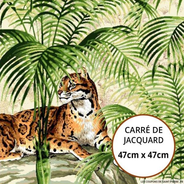 Jacquard guépard jungle - 47cm x 47cm