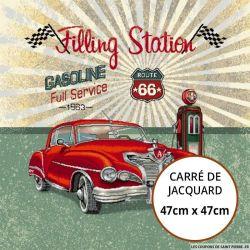 Jacquard station service vintage - 47cm x 47cm