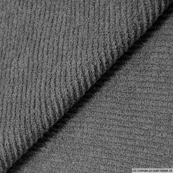 Coton double face éponge nid d'abeille gris foncé au mètre