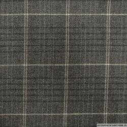 Tweed 100% laine quadrillage gris foncé