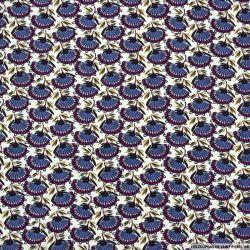 Microfibre imprimée éventails violet fond écru