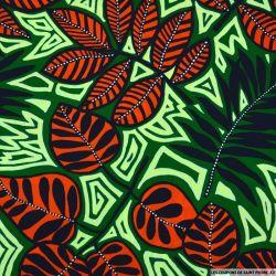 Microfibre imprimée jungle fluo fond vert