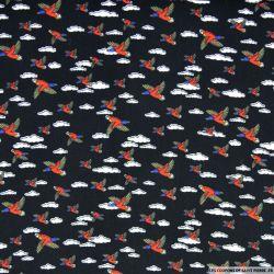 Microfibre imprimée canard sauvage fond noir