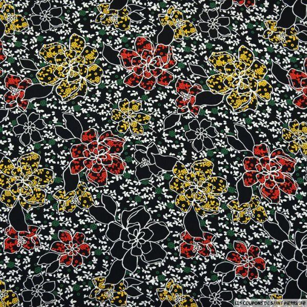 Microfibre imprimée dessin floral fond noir