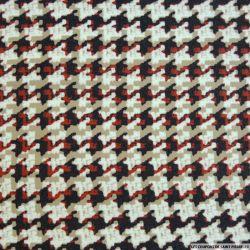 Jacquard polyester pied de coq rouge et noir