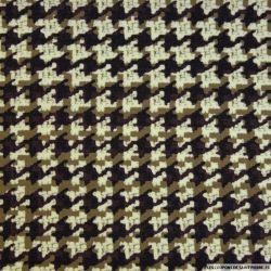 Jacquard polyester pied de coq kaki et noir