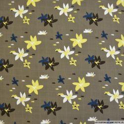Double lange coton imprimé fleurs fond taupe