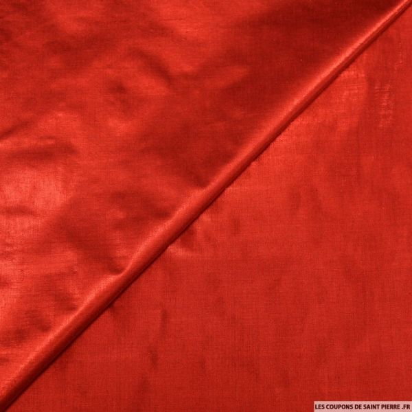 Tissu polyester lamé rouge