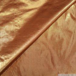 Tissu polyester lamé orange changeant or