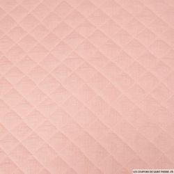 Double gaze de coton matelassé rose au mètre