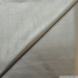 Simili cuir métal argent envers gris chiné