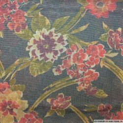 Jersey polyester fin fleurs fond gris foncé rayures argent