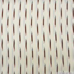 Microfibre imprimée rayures fond écru rayures dorées