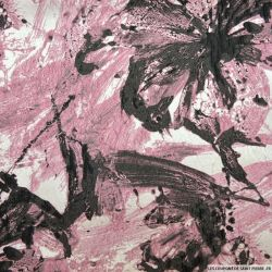 Brocart peinture rose et anthracite