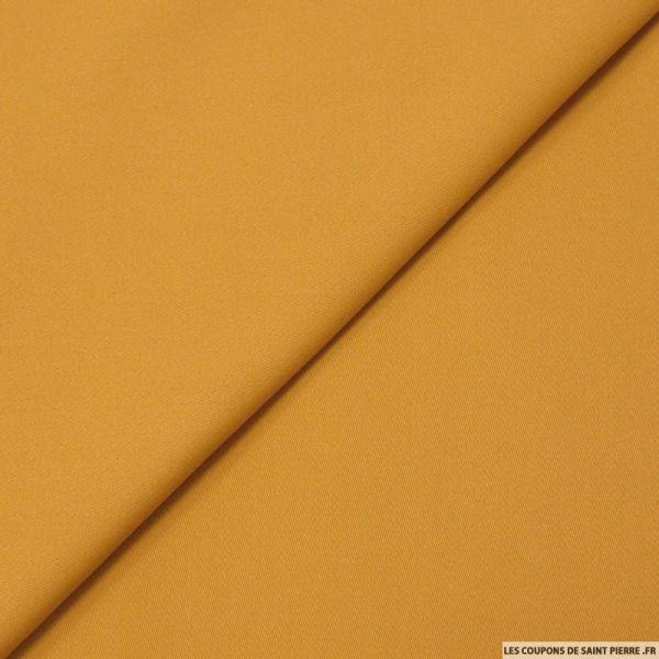 Gabardine de coton élasthane émerisé ocre