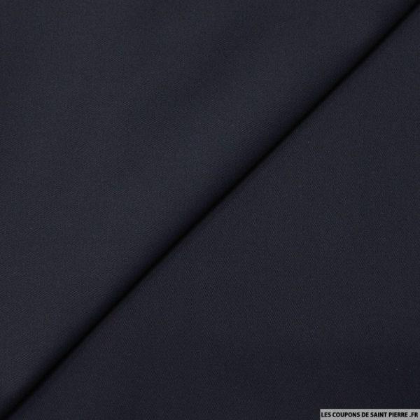 Gabardine de coton élasthane émerisée marine