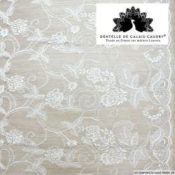 Dentelle de calais® festonnée fleurs blanc au mètre