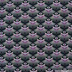 Microfibre imprimée éventails graphique violet fond noir