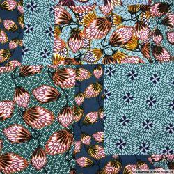 Crêpe polyester imprimée patchwork folk bleu