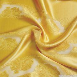 Satin de Soie ocre bandes de jacquard tissées dorées