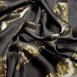 Satin de Soie noir bandes de jacquard tissées dorées