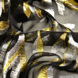 Mousseline de Soie noir Lys jacquard tissées or et argent
