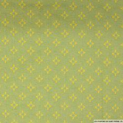Jean's jacquard picto jaune fond vert pomme