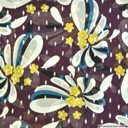 Mousseline imprimé fleurs retro fond aubergine losanges dorés
