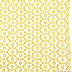 Broderie anglaise cercles jaune festonnée