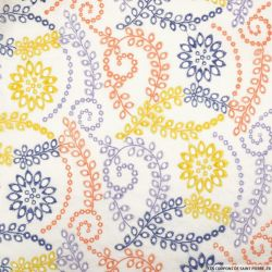 Broderie anglaise feuilles multicolore