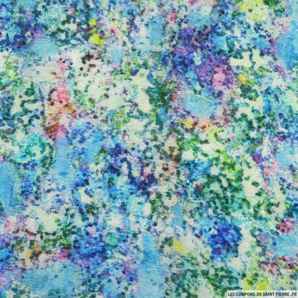 Jacquard polyester aquarelle fleurs holographique