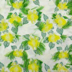Jacquard polyester fleurs long poils jaune et vert