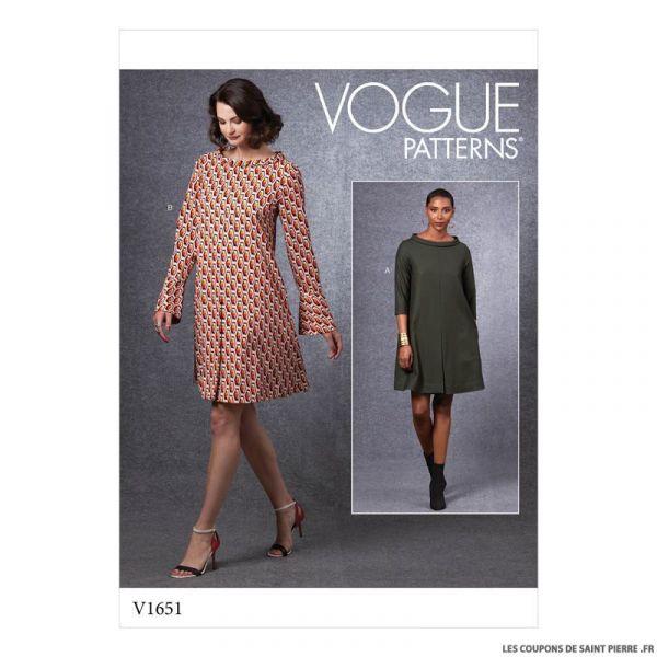 Patron Vogue V1651 : Robe plis creux
