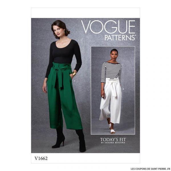 Patron Vogue V1662 : Pantalon large et ceinture